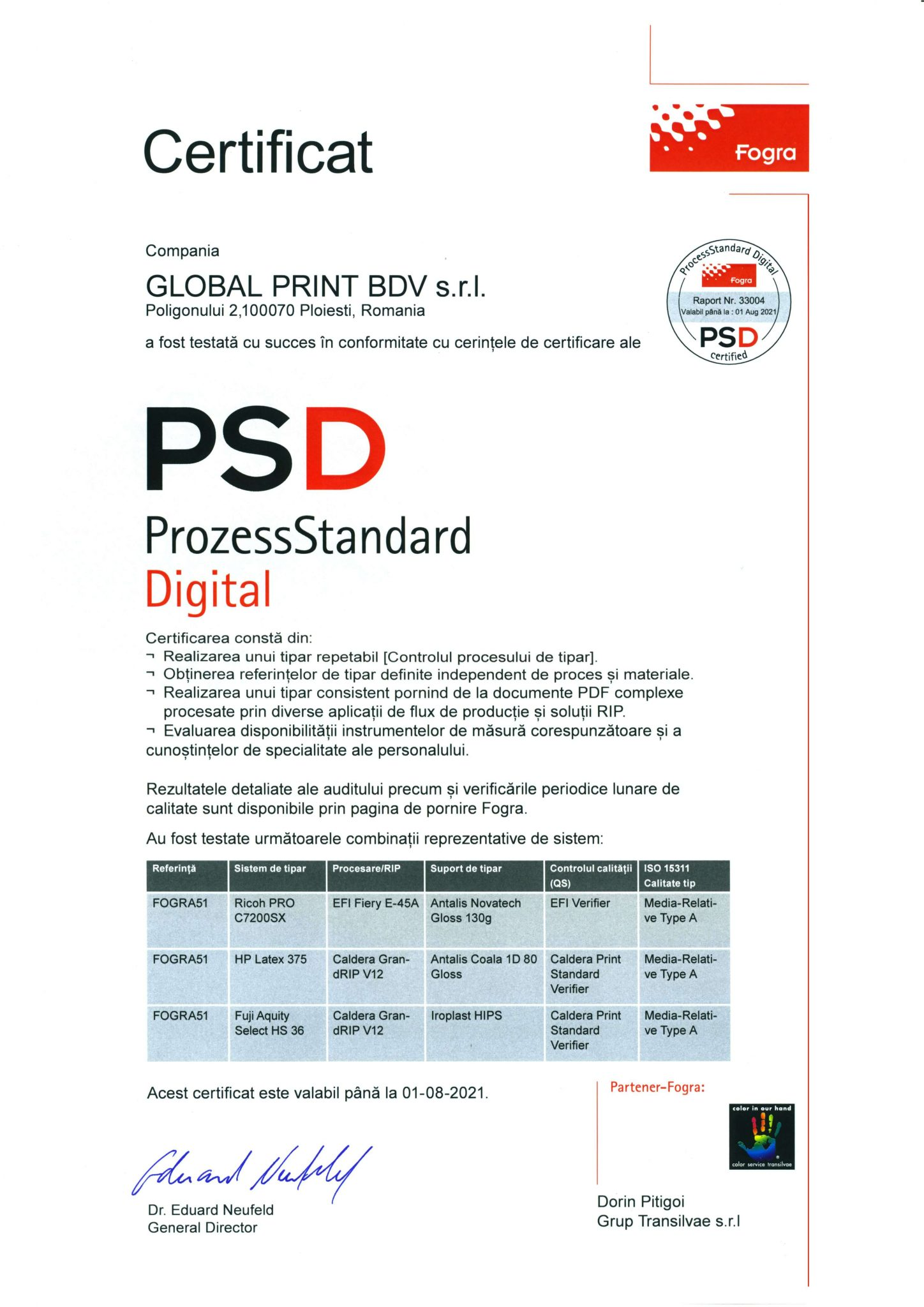 Fogra printing certification